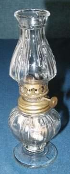 Miniature Ribbed Base & Shade Oil Lamp
