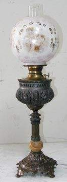 Parlor Oil Lamp with Cupid Shade