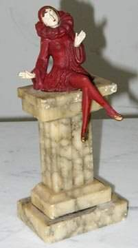 Art Deco Marble Statue with Lady on Top