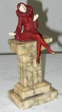 19: Art Deco Marble Statue with Lady on Top