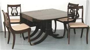 Mahogany Dropleaf Table w/4 Harpback Chairs
