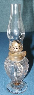 24: Miniature Oil Lamp, Floral Glass Pattern Base