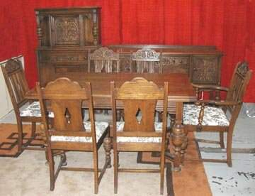 65: Oak Jacobeon Dinning Room Set