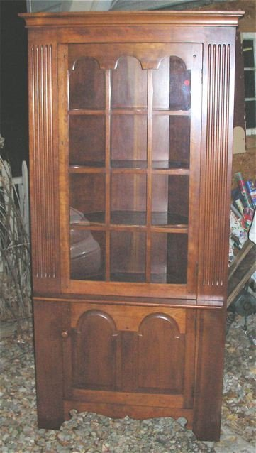 1006: Stickley 12 Pane Corner Cabinet, 1950's, Signed