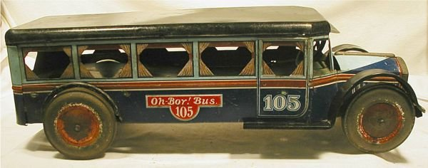 "1016: OH Boy 19"" Long Bus. Made by Kiddie Metal Toys"
