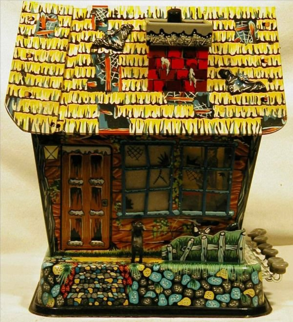 1014: Marx Tin Litho Battery Operated Haunted House, Ne