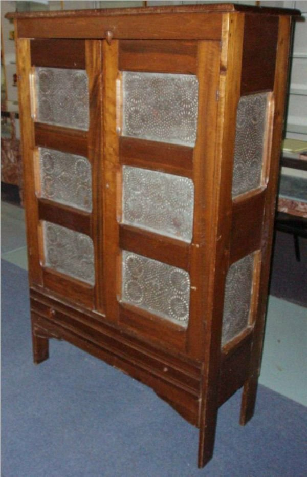 1066: 1800's Tin Punch Two Door Pie Safe, Excellent Co