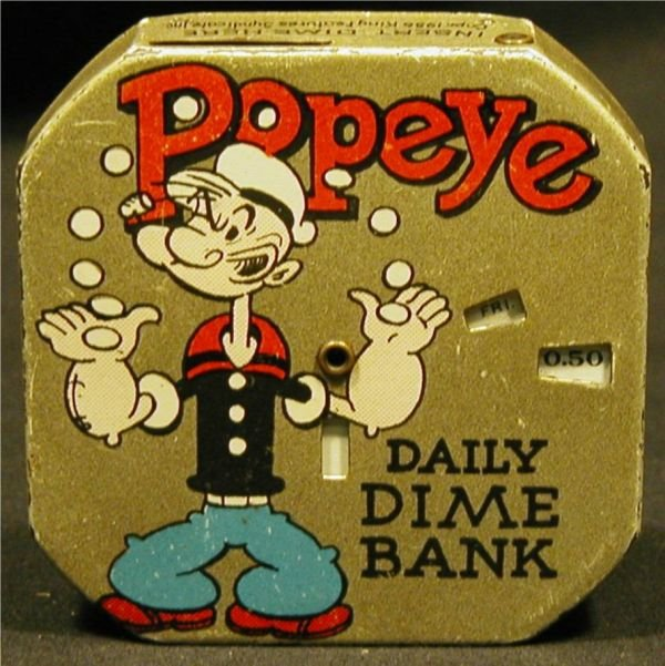 1019: Dime Register Pocket Bank, Popeye, 1956, Excellen