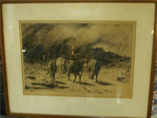 1060B: Peter Moran Western Etching, Etched Signature o
