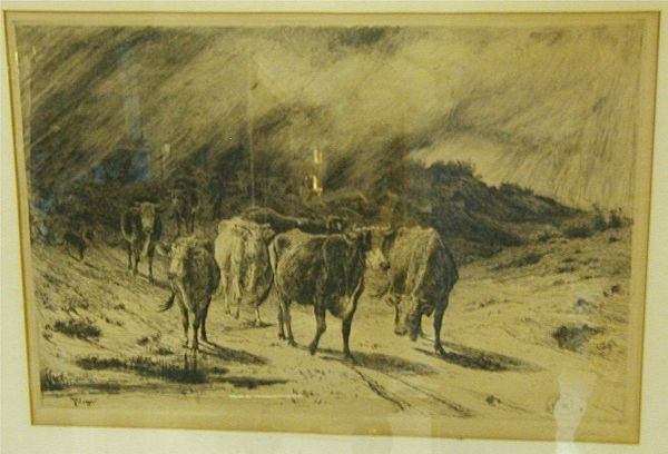 1060B: Peter Moran Western Etching, Etched Signature o - 2