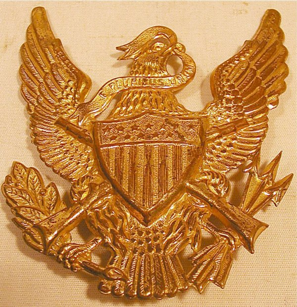2001: 1880's US Military Hat Eagle Insignia, 4 3/4 x 4