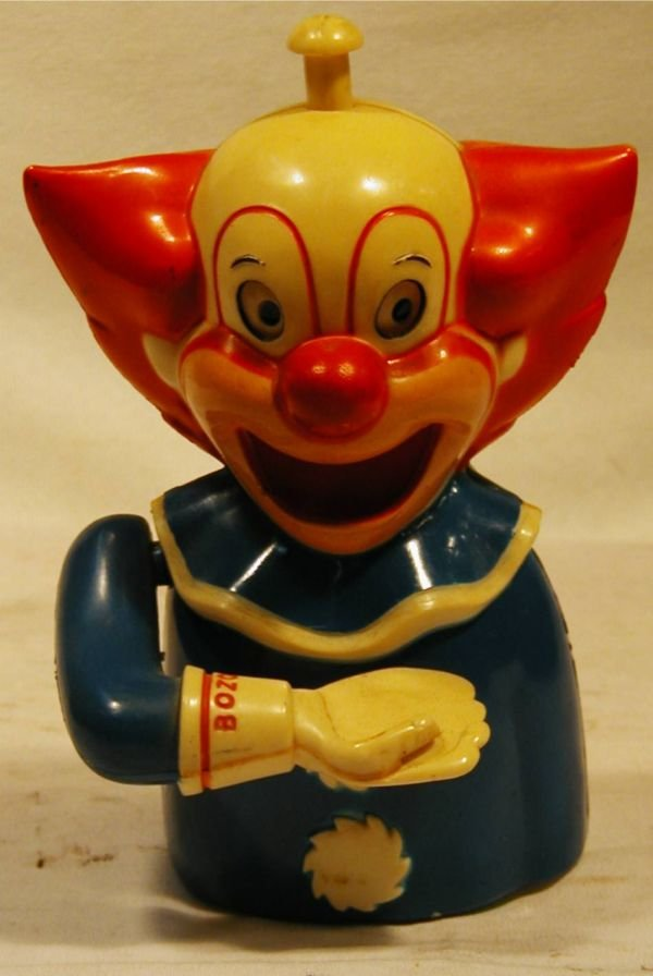 3023: Early Plastic Bozo the Clown Mechanical Bank with