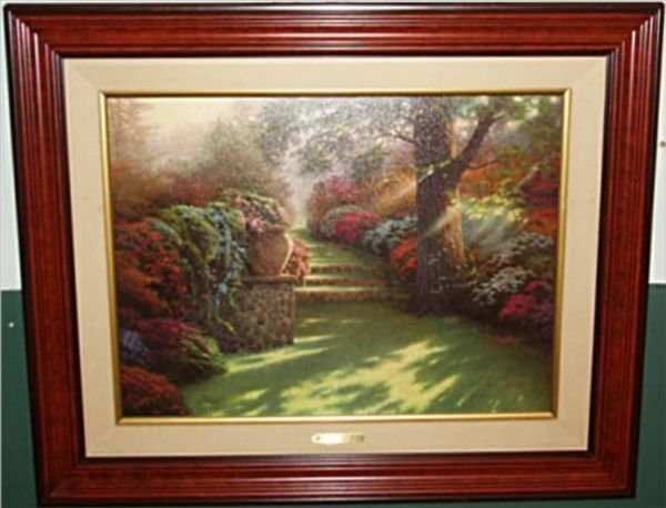 5016: Thomas Kincade Oil Painting Framed, Pathway to Pa