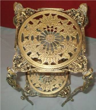 """5005: Brass Two Tier Plant Stand, 9"""" Square x 28""""  Hi"""