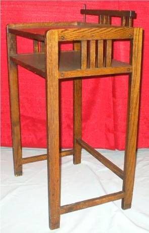 5011: Mission Oak Two Tier Telephone Table/Desk