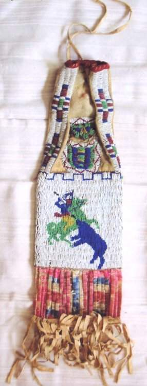 """Beaded Pipe Bag with Bear Hunt, 17"""" x 6"""""""