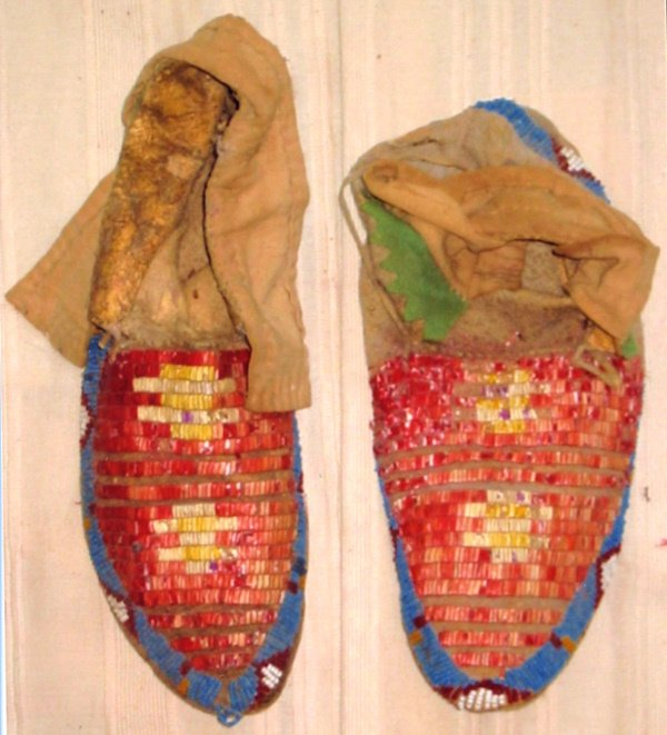 """1039: Red Porcupine Moccassins 10"""" Long"""