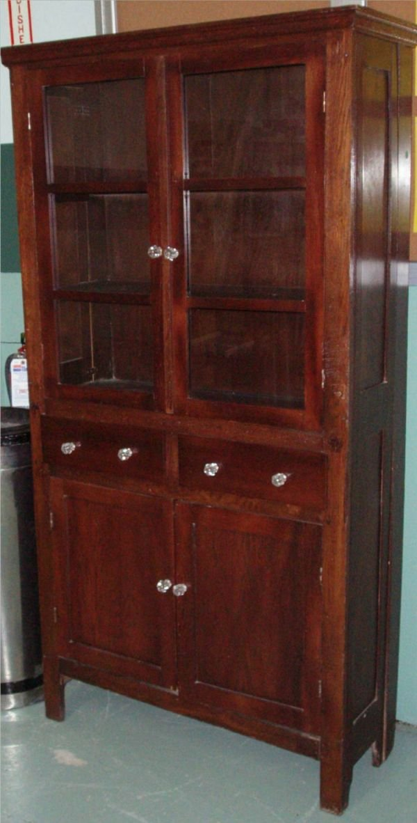 3004: Larkins Flat Wall Two Glass Door Cabinet, 15 x 37