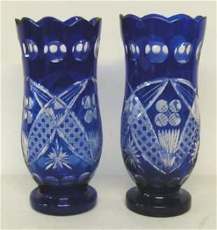 """Pair of Blue Bohemium Cut Glass Vases, 11 1/2""""H"""