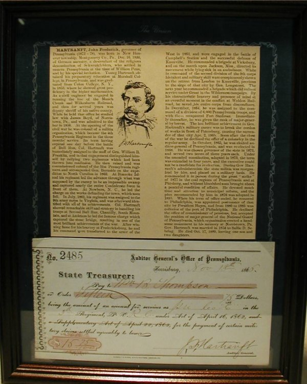 1015: Civil War Union Gen. John F. Hartranft Autograph