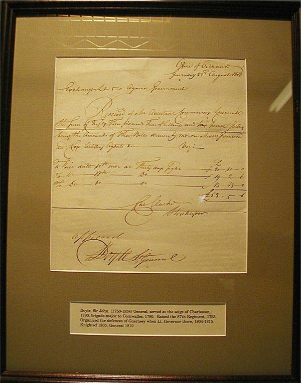 1020: Revolutionary War Gen. Sir John Doyle Autograph