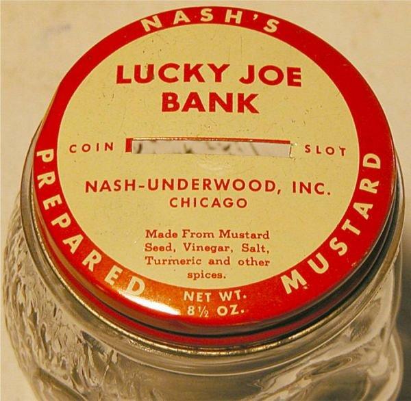 2070: Lucky Joe Bank, Nash's Mustard, 4 1/2H x 2 1/2W, - 2