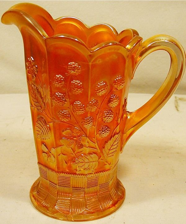 2013: Northwood Berry Merigold Carnival Glass Pitcher,