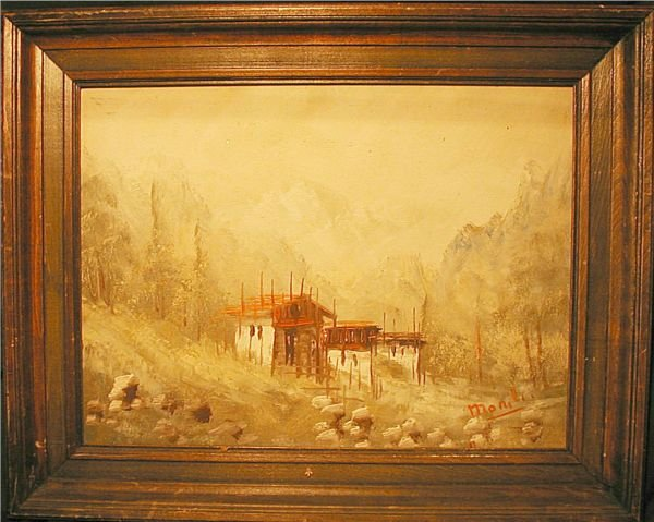 3012: Framed Oil Painting Rural Scene with Buildings, B
