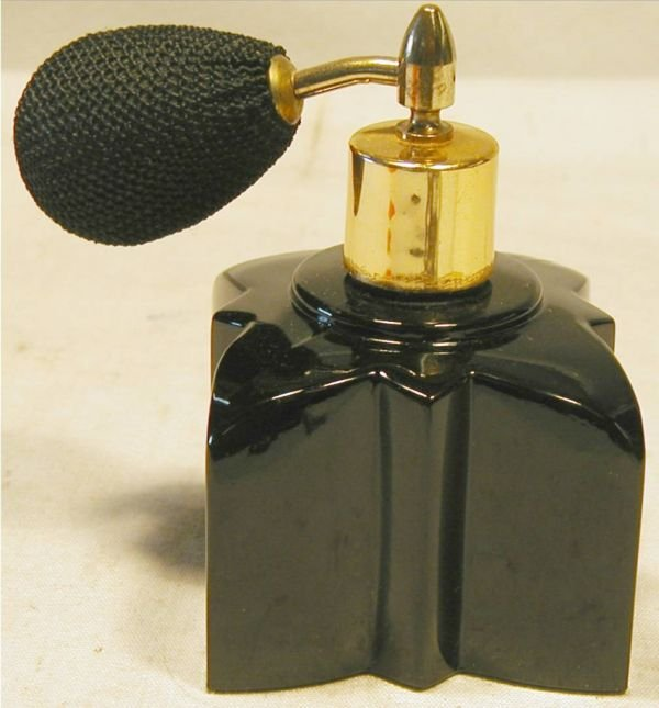 4009: Visions Made in Austria Black Glass Perfume Bottl