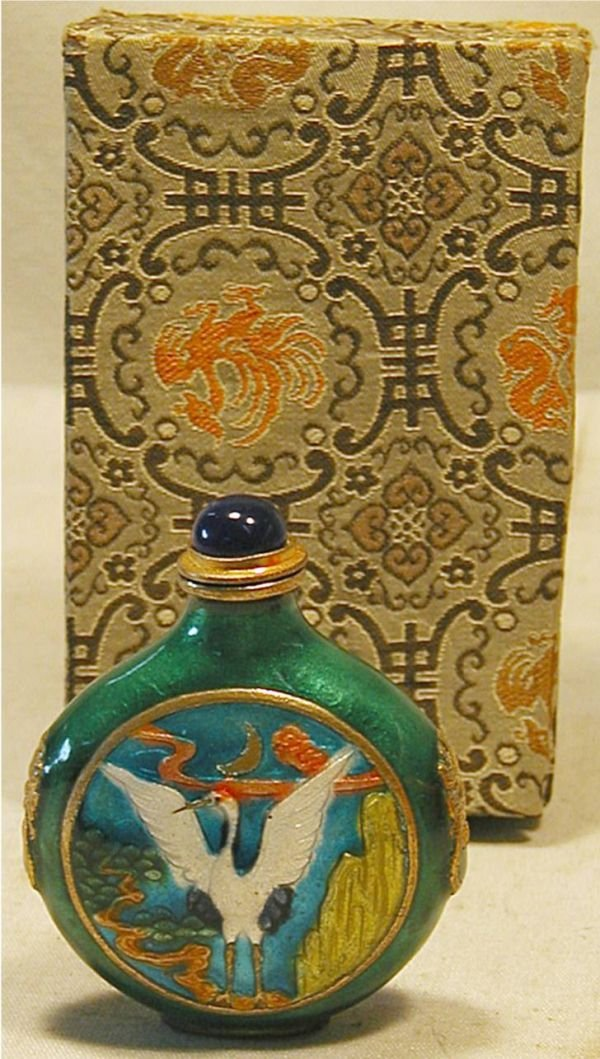 4015: Chinese Snuff Bottle with Crane Design Front, Exc