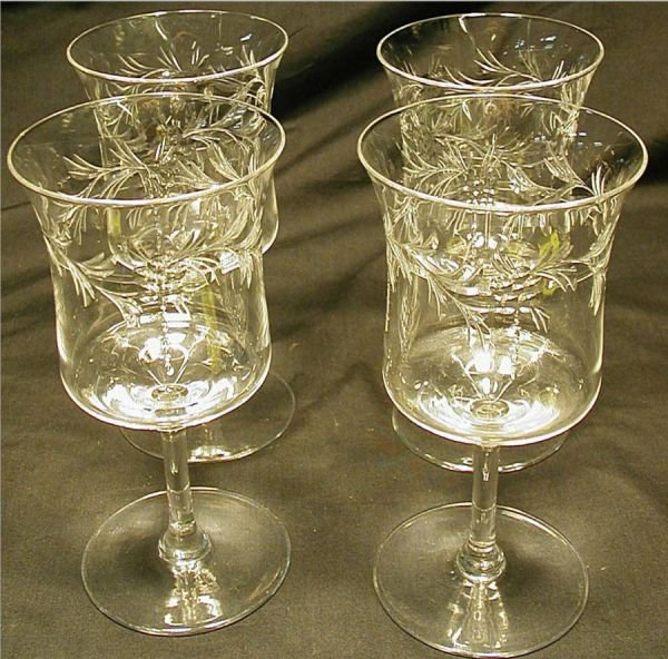 "4011: Hawkes Etched Glasses Set of 4, 6 1/2"" Tall, Exc"