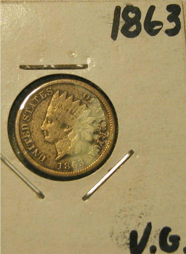 5009: 1863 Civil War Indian Head Penny, VG