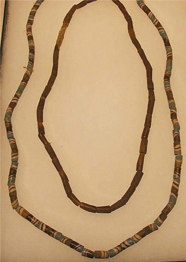 5017: Two Strands of Sand Cast Trade Beads, 20 Inch and