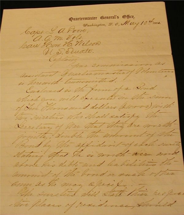 5015C: Quarter Masters General Office, Letter to U.S.Se