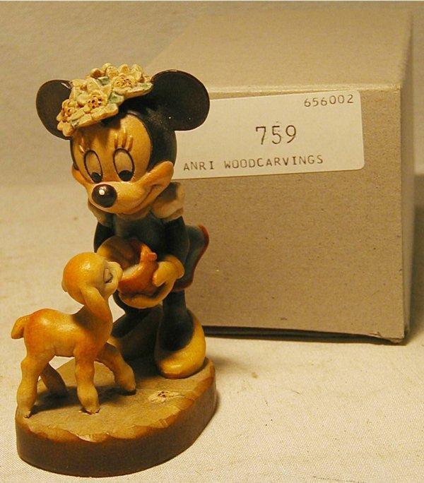 1084: Anri 1987 Disney Minnie #759 with Box, MIB, 4 Inc