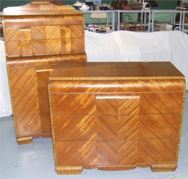 1010B: Waterfall Highboy and Three Drawer Dresser, 59H