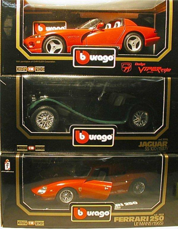 2001: BBurago Die Cast Cars (Ferrari, Viper, Jaguar)