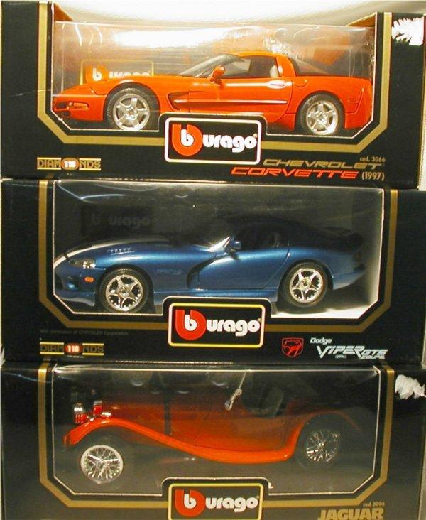 2003: BBurago Die Cast Cars (Corvette, Viper, Jaguar)