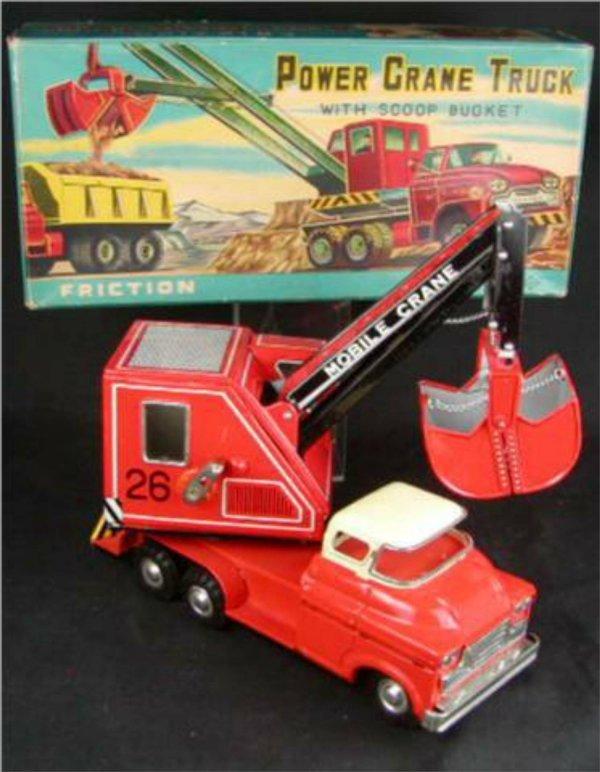 """2008: Power Crane Truck with Scoop Bucket. 9 1/2""""Long w"""