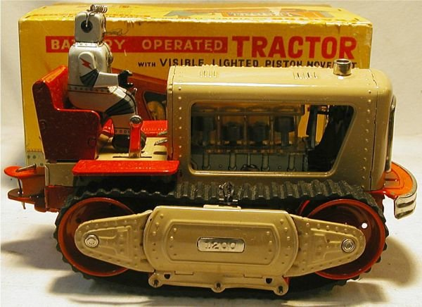 2160B: Nomara, Robot Tractor with Box, Battery Operated