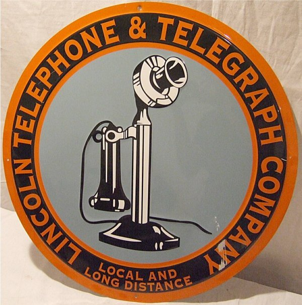 "3008: Contemporary Lincoln Telephone Tin Sign 23"" Dia."