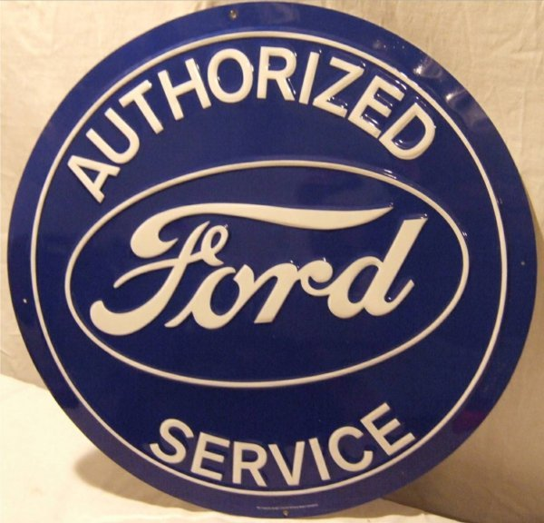 """3018: Comtemporary Ford Service Tin Sign, 24"""" Dia"""