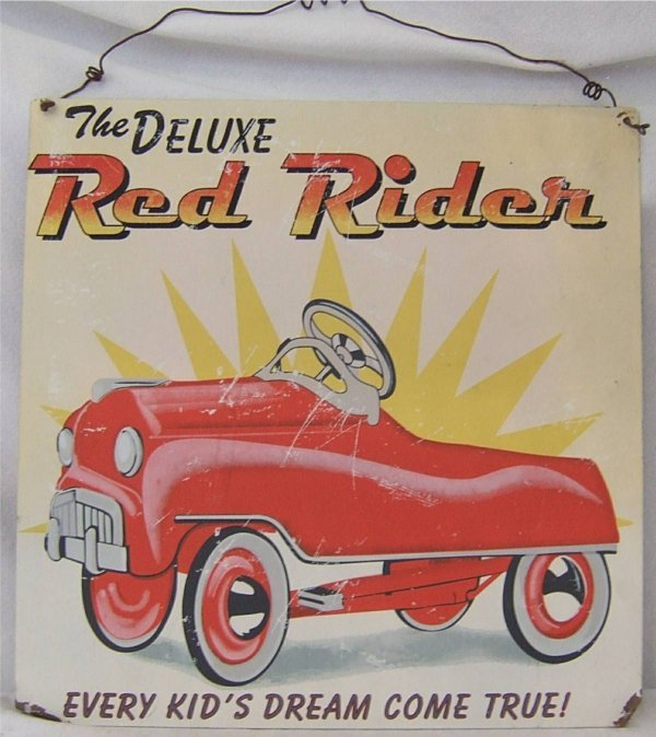 3021: Contemporary 14 x 14 Red Rider Tin Sign