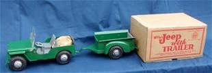 Marx Willy's Jeep with Trailer and Box