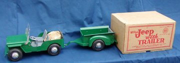 1: Marx Willy's Jeep with Trailer and Box