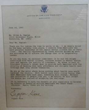 Autographed Letter by Tipper Gore