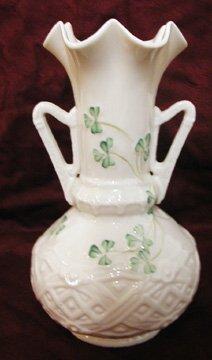 14: Belleek Shamrock Pattern Two Handle Vase
