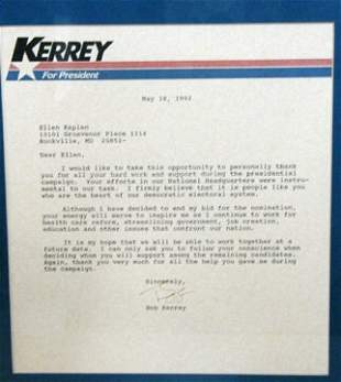 Autographed Letter by Bob Kerry