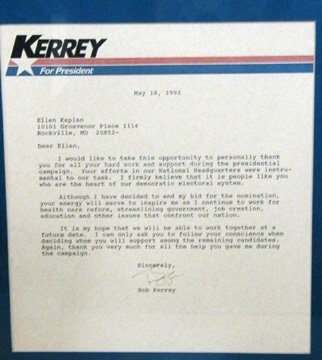 17: Autographed Letter by Bob Kerry