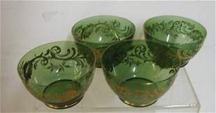 Victorian Applied Gold Leaf Green Bowls Set of 4